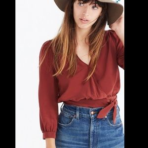 Madewell Silk Wrap Top in Burnished Mahogany